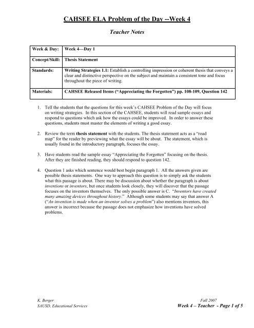 CAHSEE ELA Problem of the Day --Week 4