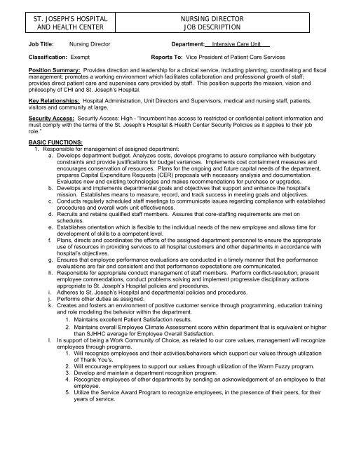 st joseph\u0027s hospital and health center nursing director job description