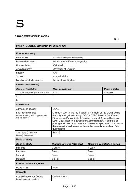 Summary template for Programme Specification - City College