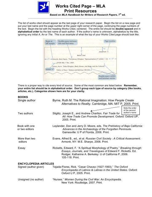 Works Cited Page â\u20ac\u201c MLA Print Resources - Gavilan College
