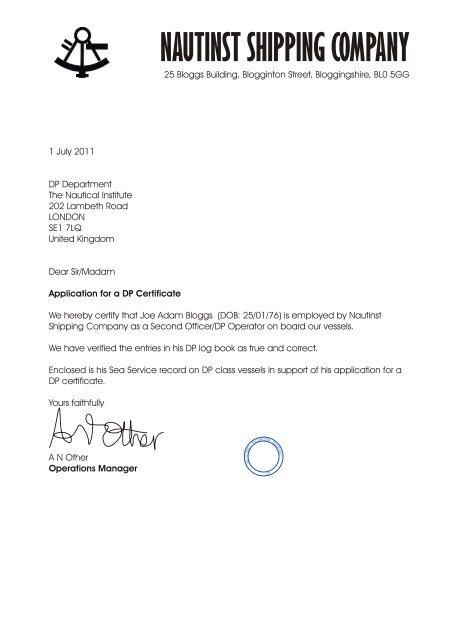 Seatime Confirmation Sample Letter