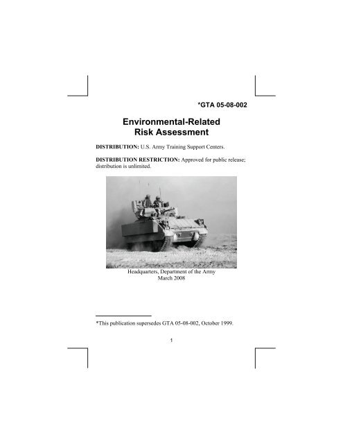 gta 05-08-002 environmental-related risk assessment - US Army