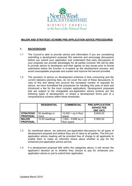 Pre-Application Advice Procedures for Major and Strategic