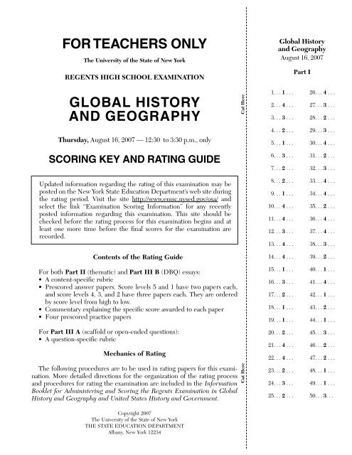 FOR TEACHERS ONLY GLOBAL HISTORY AND GEOGRAPHY
