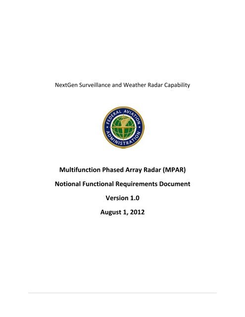 MPAR Notional Functional Requirements Document - NOAA