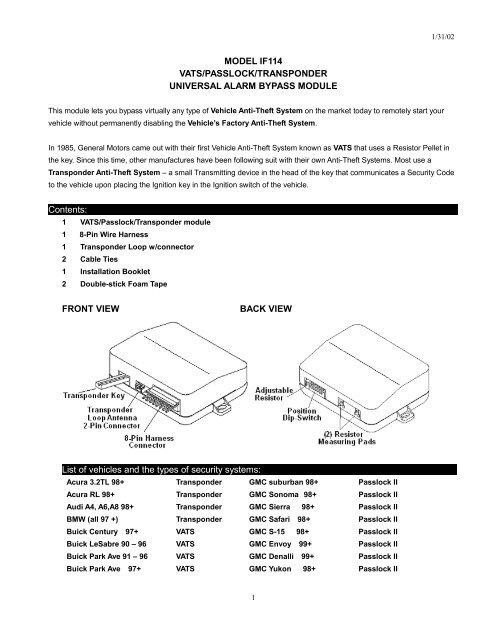 model if114 vats/passlock/transponder universal - Bulldog Security
