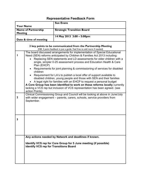 Representative Feedback Form