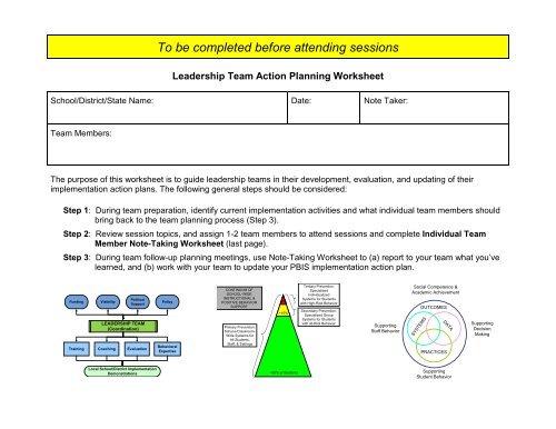 Leadership Team Action Planning Worksheet - Cvent