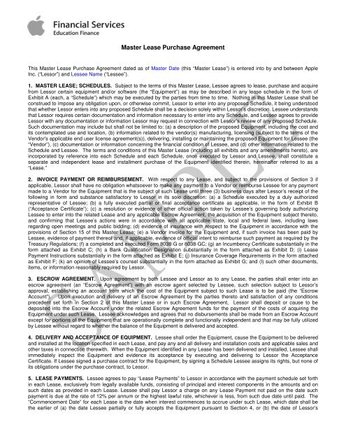 Master Lease Purchase Agreement - Peppm