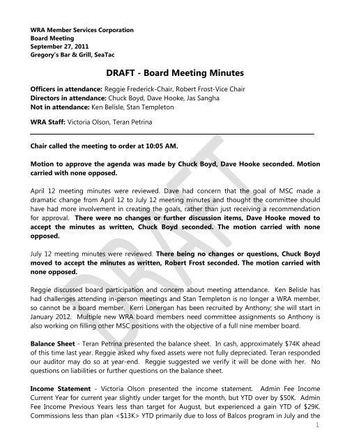 DRAFT - Board Meeting Minutes - Washington Restaurant Association