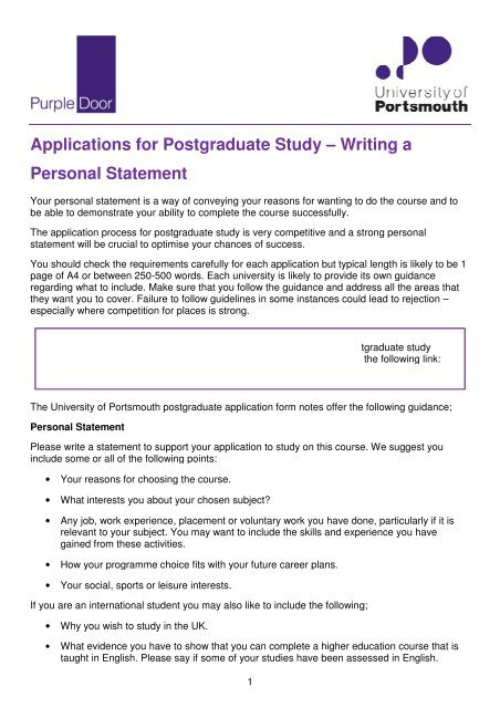 Writing a Personal Statement - University of Portsmouth