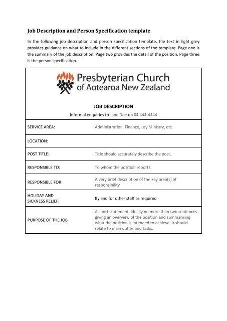Job Description and Person Specification template JOB