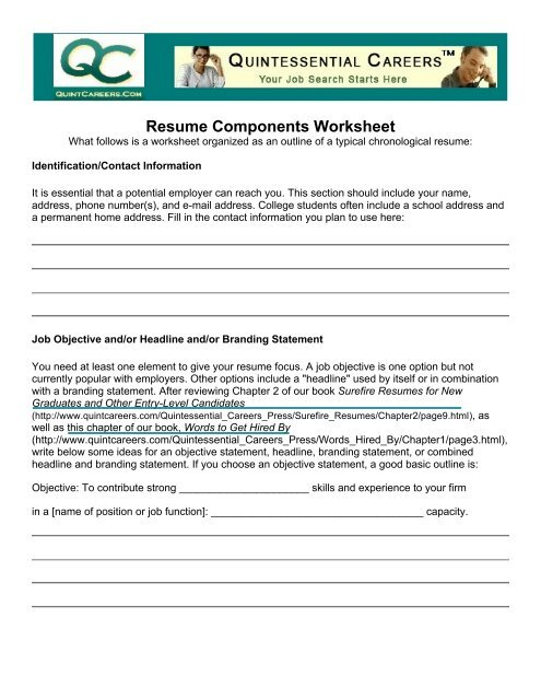 Resume Components Worksheet