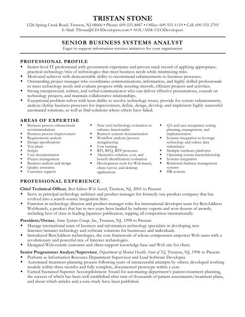 Sample Resume for Executive and Senior-Level Professionals