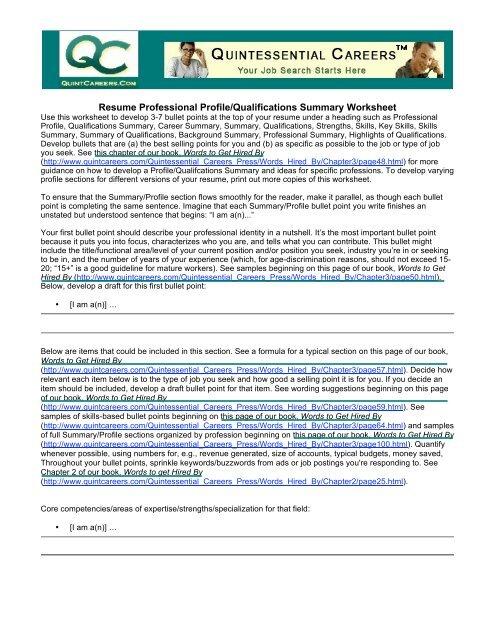 Resume Professional Profile/Qualifications Summary Worksheet