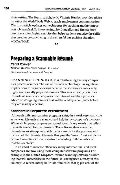 Preparing a Scannable Resume
