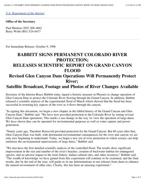 RELEASES SCIENTIFIC REPORT ON GRAND CANYON FLOOD