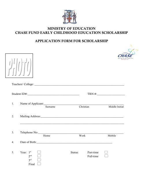 CHASE FUND Scholarship Application Form - The Early Childhood