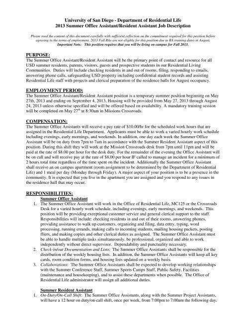 2013 Summer Office Assistant/Resident Assistant Job Description