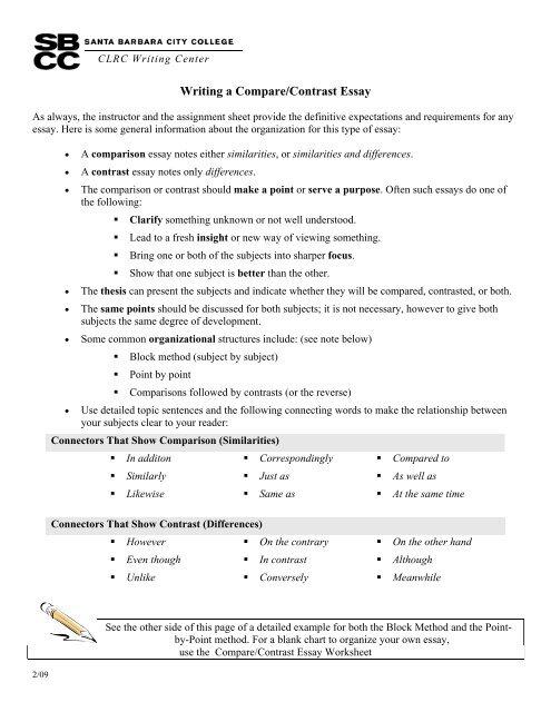 Writing a Compare/Contrast Essay