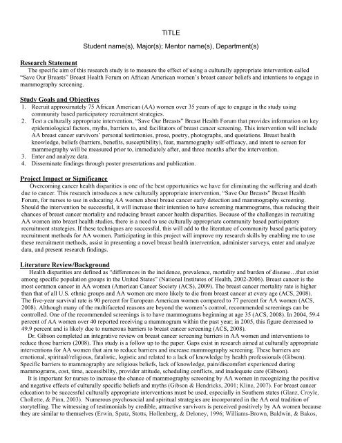 Research Statement Study Goals and Objectives Project Impact or
