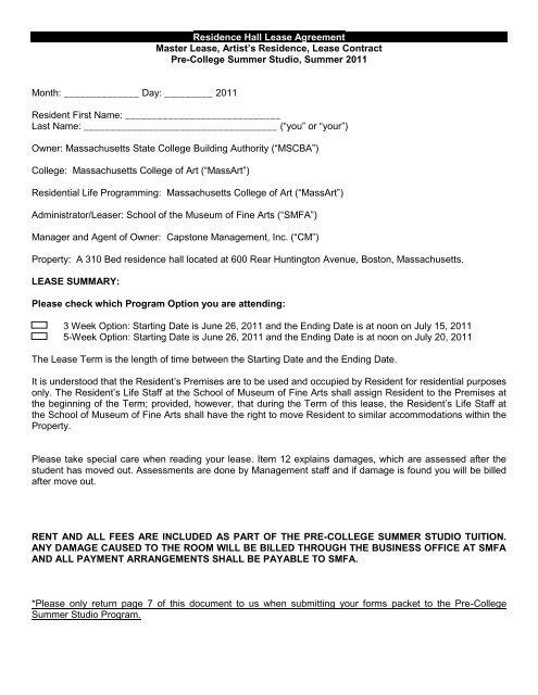Residence Hall Lease Agreement Master Lease, Artist\u0027s Residence