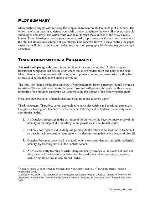 Plot summary Plot summary Transitions within a Paragraph
