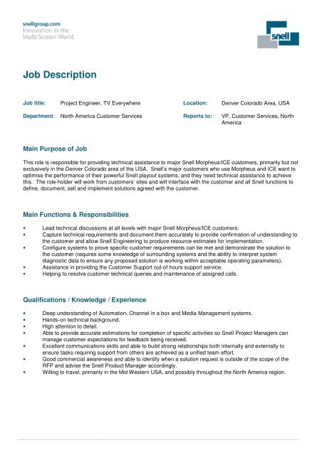 Job Title Project Engineer, TV Everywhere - Snell