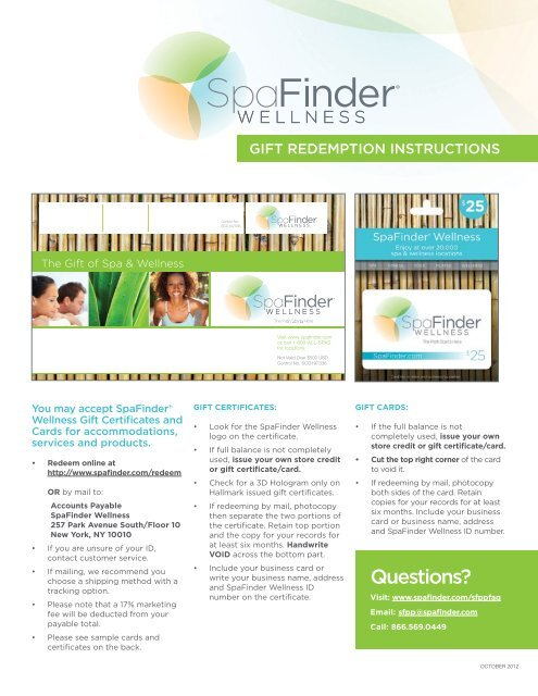 Acceptable Forms of Gift Certificates and Cards - SpaFinder
