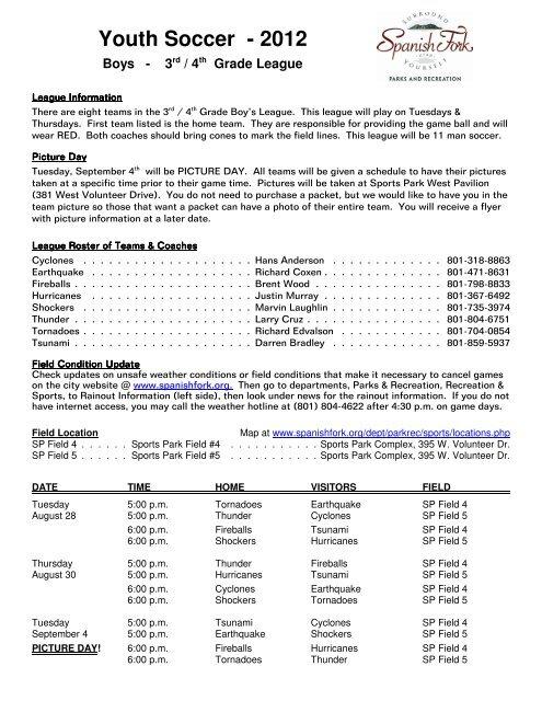 Boys - 3rd/4th Grade League Schedule - Spanish Fork