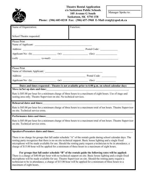 Theatre Rental Application Form - Saskatoon Public Schools