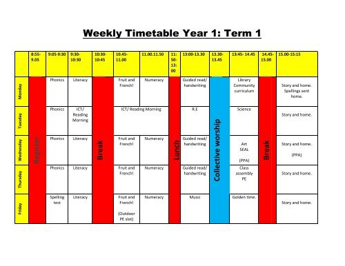 Weekly Timetable Year 1 Term 3 - St Barnabas CEVC Primary School