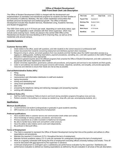 Office of Student Development OSD Front Desk Clerk Job Description