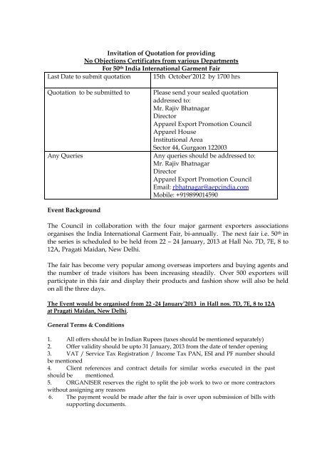 Invitation of Quotation for providing No Objections Certificates