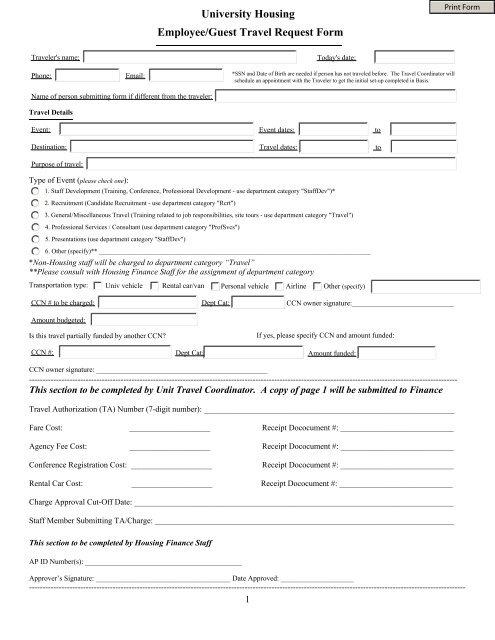 University Housing Employee/Guest Travel Request Form