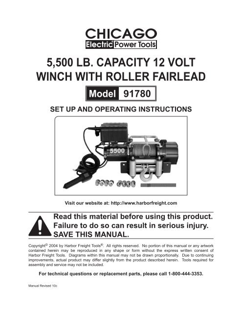 5500 lb capacity 12 volt winch with roller fairlead - Harbor