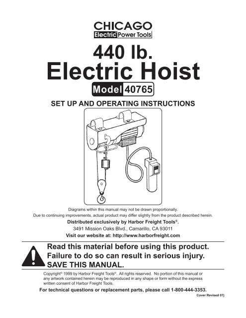 Electric Hoist - Harbor Freight Tools