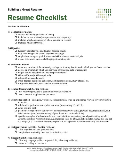 Resume Checklist - 4-H - Cornell University