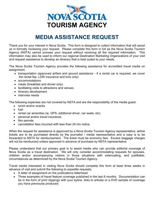 PDF Media Assistance Request Form - Nova Scotia