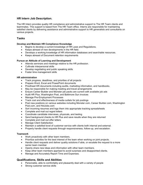 HR Intern Job Description Tasks Qualifications, Skills and Abilities