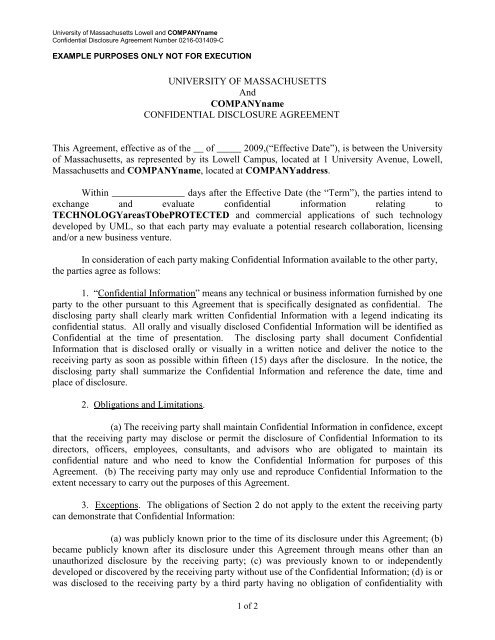 Confidentiality Agreement (Mutual data exchange) - University of