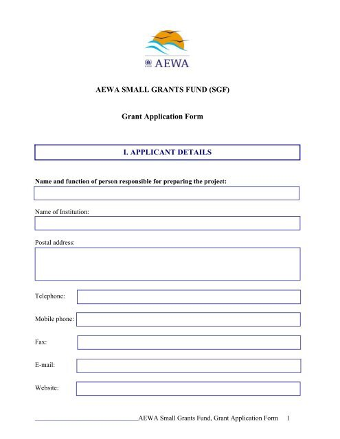AEWA SMALL GRANTS FUND (SGF) Grant Application Form I