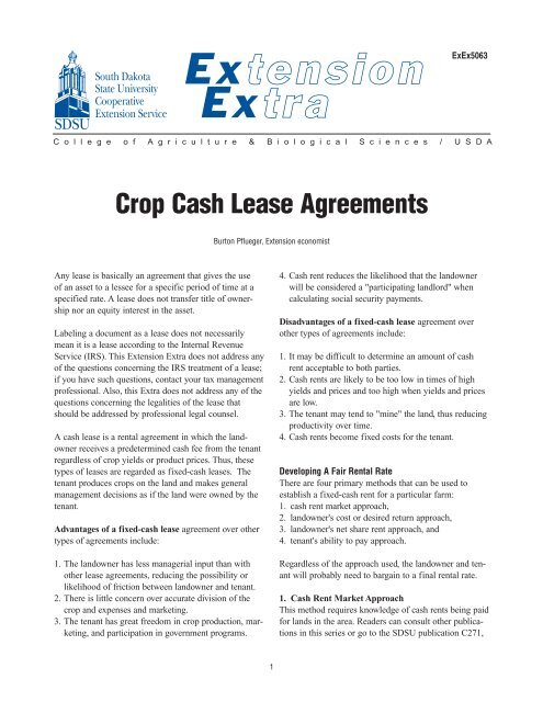 Crop Cash Lease Agreements - National Ag Risk Education Library