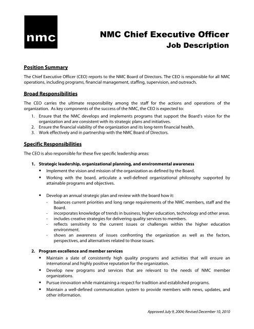 CEO Job Description (approved 7-2004) - New Media Consortium