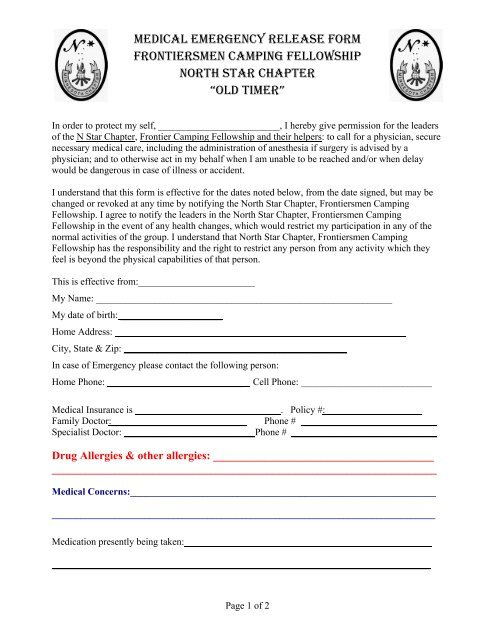 medical emergency release form frontiersmen camping fellowship