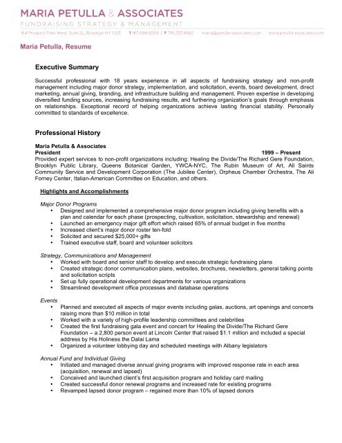Maria Petulla, Resume Executive Summary Professional History