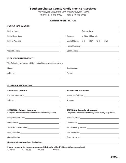 Patient Registration Form - The Chester County Hospital