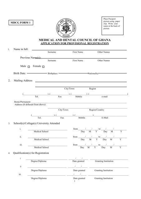 Provisional Registration Formspdf - Medical  Dental Council Ghana