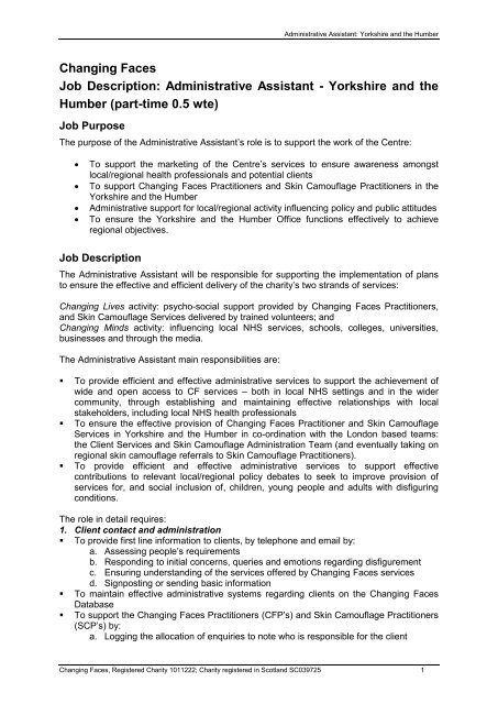 Changing Faces Job Description Administrative Assistant