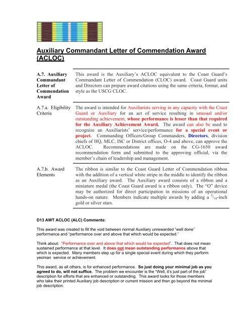 Auxiliary Commandant Letter of Commendation Award - US Coast